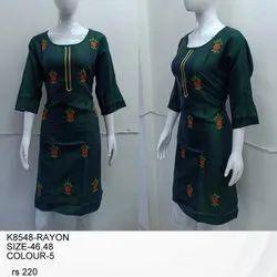 Rayon Casual Wear Full Sleeve Ladies Kurti, Size: XL, Wash Care: Handwash