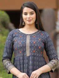 Maitrik Fashion Anarkali New Designer Long Kurti Rayon, Wash Care: Machine wash