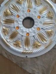 Color Coated White Designer POP Ceiling Flower, Thickness: 3mm