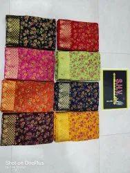 Pure Chiffon Printed Saree With Jacquard Border,fancy Buti Blouse