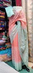 Katan Checks Embroidery Work Sarees
