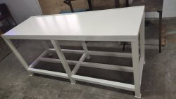 Metal White Industrial Work Table, Size: 6ft X 2ft X 3ft (h)
