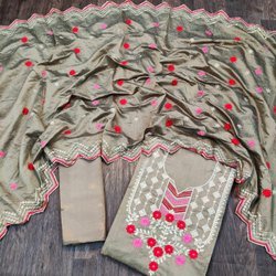 Casual Wear Embroidery Patiala Salwar Suit, 1.90 Mtr
