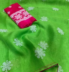 Party Wear Cotton Embroidery Saree, Without Blouse Piece, 5.5 m (separate blouse piece)