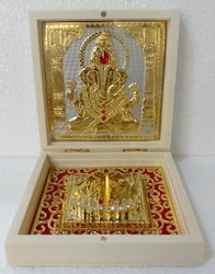 Gold Plated Ganesha with Paduka in Wooden Box