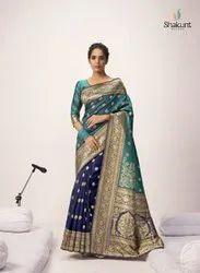 Triveni Jaqurad Jacquard Silk Saree, 6.3 m (With Blouse Piece)