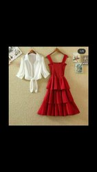 Red Printed Party Wear Dresses, Size: Free Size