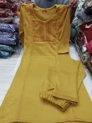 Straight Embroidered Woolen Kurtis With Plazzo