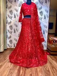 Red Net Embroidery Lehenga Choli