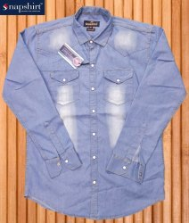Plain Blue Mens Denim Shirts