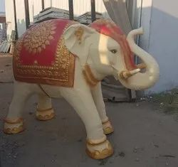 White,Golden and Red FRP Elephant Statue, For Exterior Decor