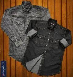 Snapshirt Plain Mens Black Denim Shirts