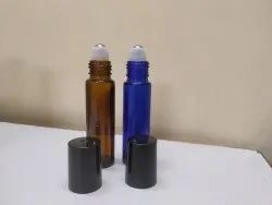 10 Ml Roll On Bottle In Blue Glass And Amber Glass With Steel Roller