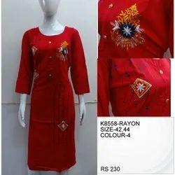 Rayon Casual Wear Modern Ladies Kurti, Size: XL, Wash Care: Handwash