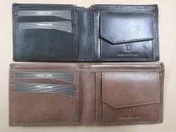 Brown Bi Fold Leather Wallets For Men, Card Slots: 6