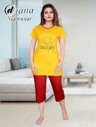 Ladies Capri Night Suit, Size: XL