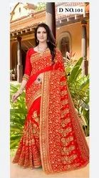 Red Border Indian Wedding Saree, With blouse piece, 6.30 mts with blouse