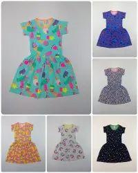 Multicolor Kids Girls Cotton Frock