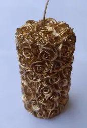 Paraffin Wax Rose Pillar Candle, Ht : 10 Cm,Diameter : 6 Cm