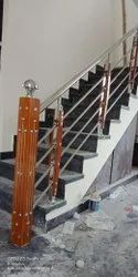 Stairs Steel Wooden Railing Pillar, For Home