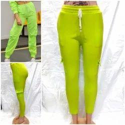 Cotton/Linen Stretchable ladies Rib jogger , woman jogger , ladies cargo, Size: Xl 28 To 34 Waist