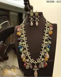 Pearl Mala with Kundan Meena Tikda And Tumbl Jewelry
