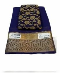 Party Wear Blue Fancy Printed Chiffon Saree, Without Blouse Piece, 6.5 Meter