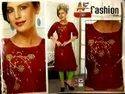 Casual Wear Straight Ladies Designer Reyon Two Tone Cotton Kurti, Wash Care: Machine Wash