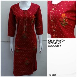 Straight Full Sleeve Casual rayon embroidery kurti, Size: XL, Wash Care: Handwash