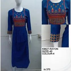 Party Wear Straight Rayon embroidery floor length kurti, Size: XL, Wash Care: Handwash