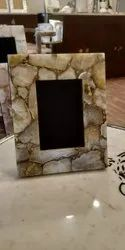 Stone Golden Agate Photo Frame, For Decoration, Size: 9*7 Inches