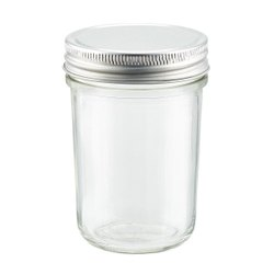 325ML SPRING JAR GLASS CLEAR WHITE SCREW CAP