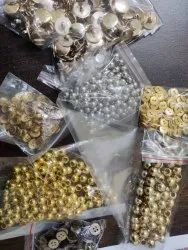 Golden Round Beads And Metal Accessories, For Garments, Packaging Type: Packet