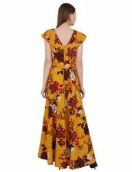 Printed Boat Neck Gown