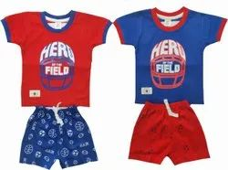 Blue Girl & Boy Boy's Half Sleeves Cotton Baba Suits