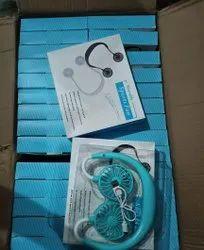 Blue Plastic Portable Hanging Neck Sports Fan