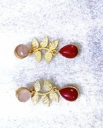 Gold plated leaf earrings shipping free