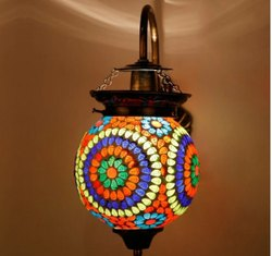 Earthen Metal Spherical Shaped Flower Designed Glass Pendant Hanging Lamp ( Turkish Lamp)
