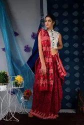 Bagru Hand Block Ajrakh Print Cotton Mulmul Saree With Blouse Piece