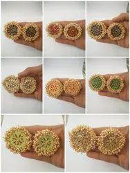 10 Colors Alloy Meenakari Kundan Pearl Earrings