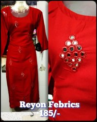 Casual Wear 3/4th Sleeve Ladies Designer Straight reyon Cotton Kurti, Wash Care: Machine wash