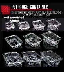 Rectangular Pet Hinged Container 250ml 2000ml