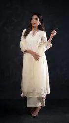 Aavya Chanderi Ladies Designer Silk Suit, Handwash