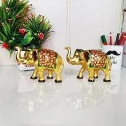 Goldan Meenakari Aluminum Gold Pleted Metal Elephant Statue, For Home And Table Office Decore