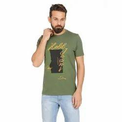 Round Half Sleeve Lycra Cotton T Shirt, Size: Medium to XXL