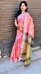 Colourthreads Creation Multicolor Ladies Linen Saree, With blouse piece, 5.5 m (separate blouse piece)