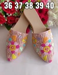 Kiwi Leather Partywear Kridhaa Ladies Embroidered Mules, Size: 36 Ind