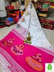 6.3 m (with blouse piece) Printed Handloom Cotton Saree