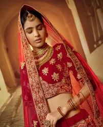 Red Embroidered Bridal Wear