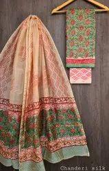 Party Wear Normal Salwar Hand Block Print Chanderi Silk Suit Set